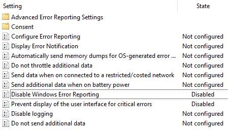 Windows 错误报告策略组设置